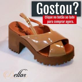 61c5713c6 Sandalia Salto Tratorado Verniz - Sandálias para Feminino no Mercado ...