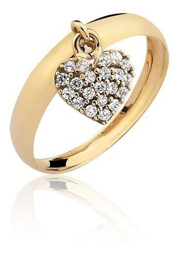 Anel Pingente Coração Com Pedras Ouro 10k A330