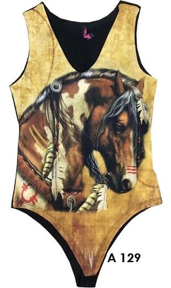 Body Country Lindo Feminino Cavalo Marrom Oferta