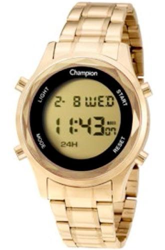 Relógio Champion Feminino Led Digital Dourado Grande Ch48108