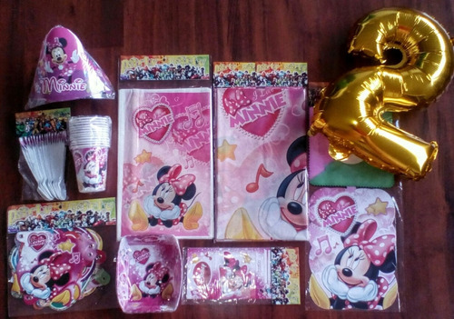 Kit Decoracion Minnie Mouse Fiesta 24 Invitados+ Obsequio