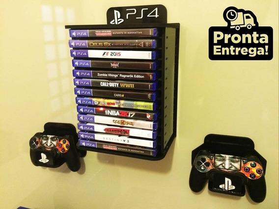 Porta Jogos De Parede + Par De Porta Controle - Ps4 Xbox Ps3