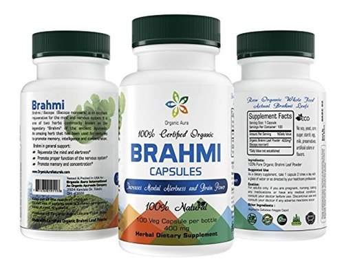 Cápsulas De Aura Brahmi Orgánicas Certificadas (bacopa). 100