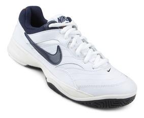 Tênis Nike Court Lite Branco E Azul Original - Footletr