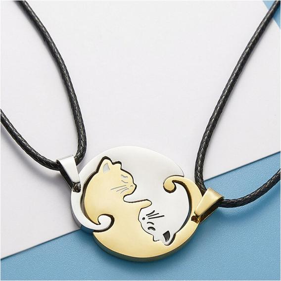 Colar Duplo Cat Love Amizade Amor Gatos Yin Yang Gold Silver