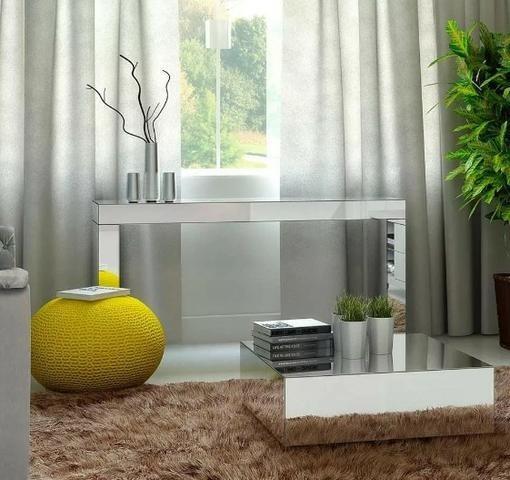 Aparador Espelhado - Espelho Prata Bisotado (80x100x30)