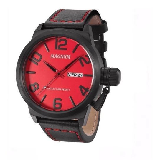 Relógio Magnum Military Masculino Couro Ma33399v Novo