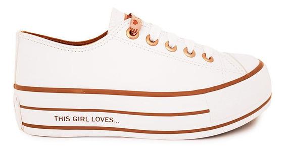 Tênis Capricho Plataforma Feminino Love Branco