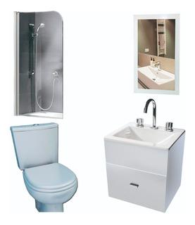 Juego Basico De Baño Espejo Vanitory 50cm Mampara Inodoro