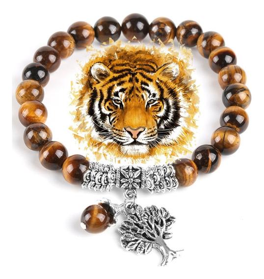 Pulseira Pedra Olho De Tigre Natural Arvore Da Vida Reiki
