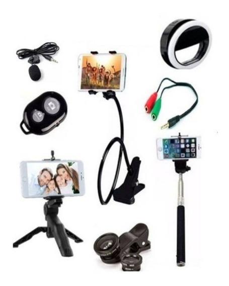 Kit Youtuber 9 X 1 Tripé Mão Selfie Lentes Anel Flash Lapela