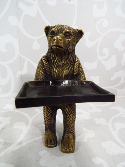 Antigo Urso Com Bandeja Em Bronze Escultura Europeia Dec 70