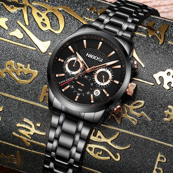 Relógio Nibosi Importado Original Cronógrafo Visor Preto