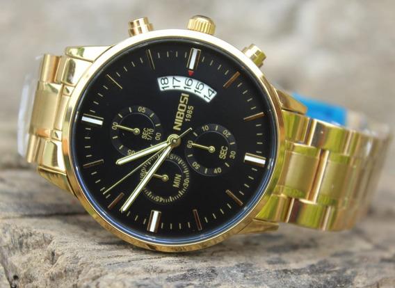 Relógio Original Nibosi 2309 Dourado Masculino + Brinde