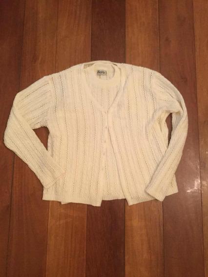 Casaco De Frio Twin Set Cardigan E Blusa Tricot Linha Nude