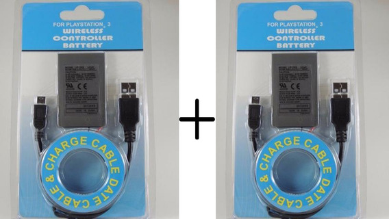 Kit 2 Bateria Controle Ps3 1800mah + Cabo Usb Playstation 3