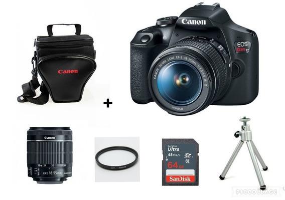 Câmera Canon T7 C/18-55mm+ Bolsa+ 64gb+ Tripé+ Filtro C/nf