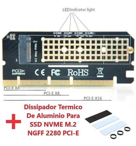 Adaptador Ssd M.2 Nvme P/ Pci-e 4x 8x 16x + Dissipador Calor