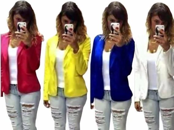 Blazer Casaquinho Blusa Feminina Manga Longa Moda Blogueiras