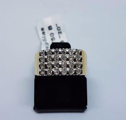 Anel Em Ouro Amarelo 18k 750 Rode Branco 24 Diamantes