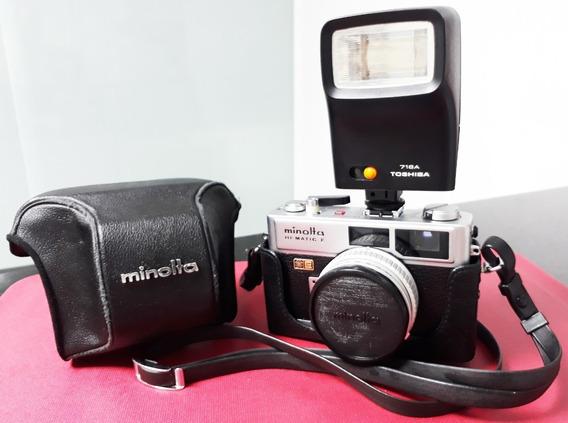 Câmera Fotográfica Minolta Hi-matic E (1971) + Cases + Flash