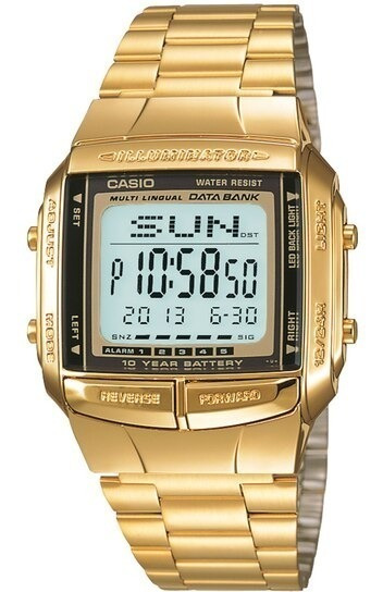 Relogio Casio Databank Retro Unissex Digital Dourado Db-360g-9adf Data Bank
