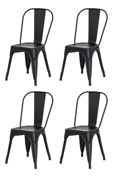 Kit 4 Cadeiras Tolix Iron Industrial Design Várias Cores
