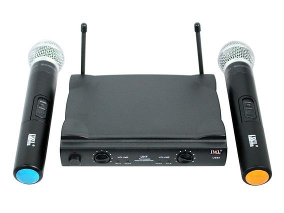 Microfone Sem Fio Profissional Jwl Duplo 100 Metros + Maleta