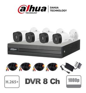 Kit Circuito Cerrado 4 Cámaras Dahua 2mp 1080p Dvr 8ch H265