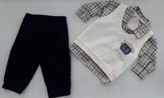 Conjunto Bebê 3 Peças Camisa Manga Longa// Colete E Calça