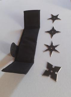Estrellas Ninja De Acero Para Lanzar Set De 4 Funda Shuriken