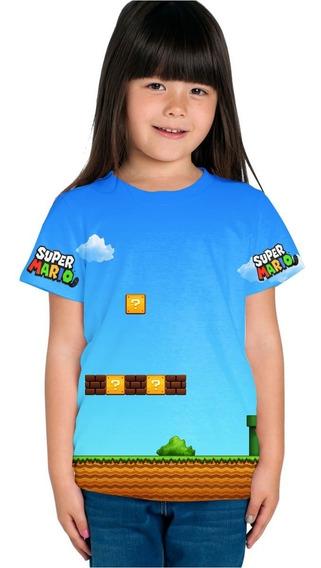 Playera Sublimada Full Print Niño Niña Mario Bros 2