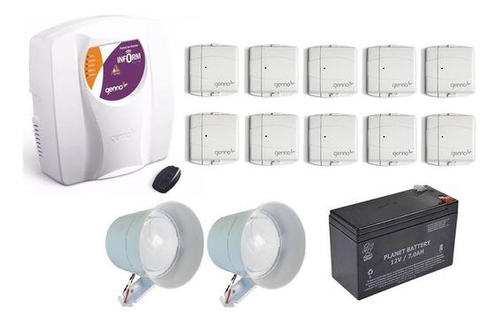Kit Alarme Genno Slim 3s + 10 Sensor Magnético Sem Fio