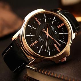 Relógio Yasole Quartz Dourado P. Couro