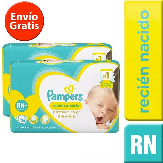 2 Paquetes Pañales (72u.) Pampers Recien Nacido Rn+