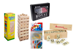 Combo Juegos De Mesa Poker Royal Domino Uno H20 Jenga Viajes
