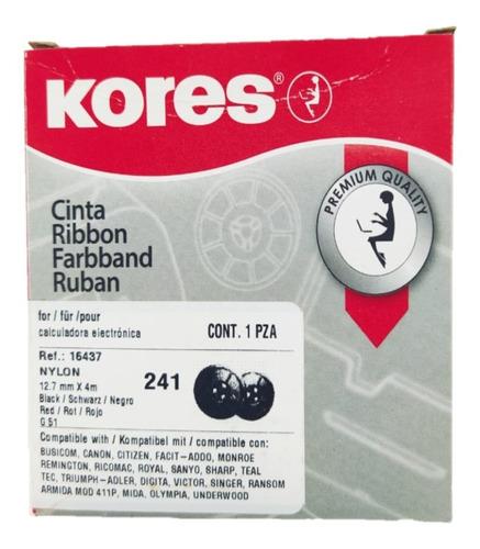 Imagen 1 de 2 de Cinta Kores Bicolor Nylon Negra - Roja