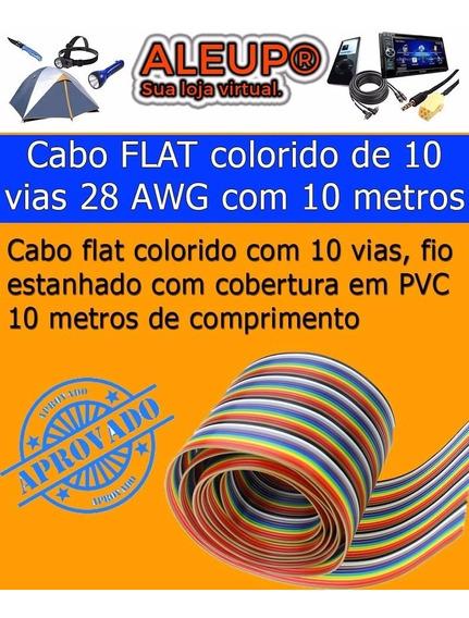 10 Metros Flat Colorido 10 Vias 28 Awg Fio Estanhado