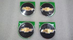 Emblema Adesivo Tampa Centro Roda Gm 55 Mm Preto Dourado