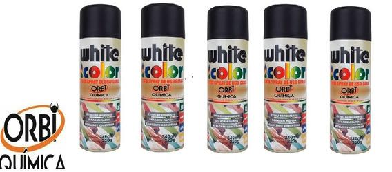 Kit 5 Tinta Spray White Color Preto Brilhante 340ml 5unidade