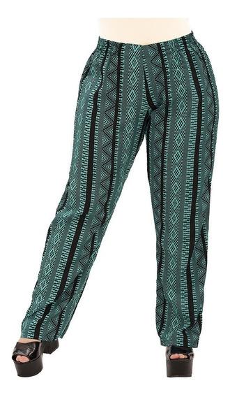 Pantalón Portofem De Seda Estampada - Talles Grandes