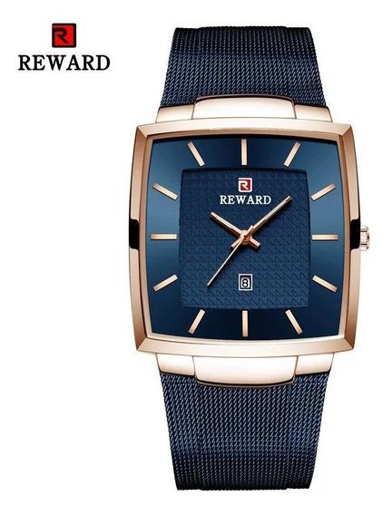 Relógio Quadrado Masculino Azul De Luxo Na Caixa Original