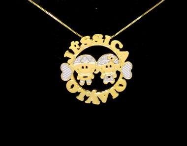 Colar Mandala 2 Nomes Coleção Filhos Amados Folheado Ouro18k