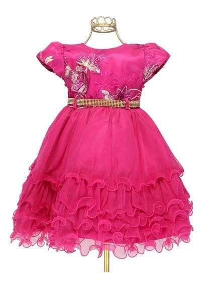 Vestido Infantil Pink Masha Bordado Relevo Luxo - Mb1730