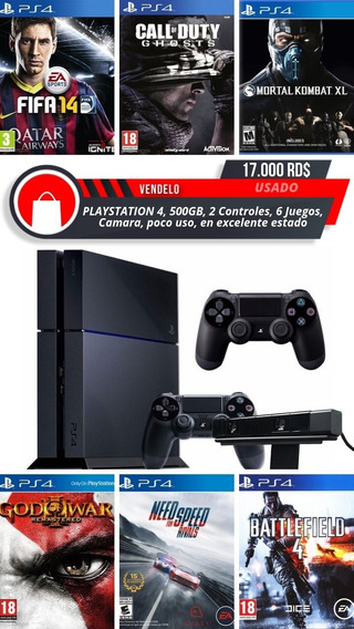 Playstation 4, Ps4 De 500, Con 6 Juegos, 2 Controles, Camara
