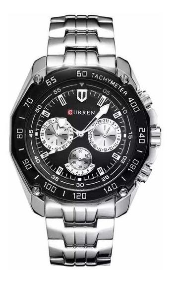 Relógio Masculino Casual Prata Curren 8077 Em Aço Inox