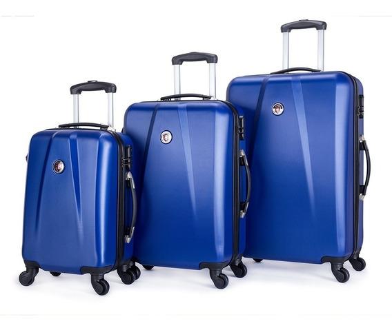 Conjunto De 3 Malas P/ Viagem Rígida Abs Original Swissport