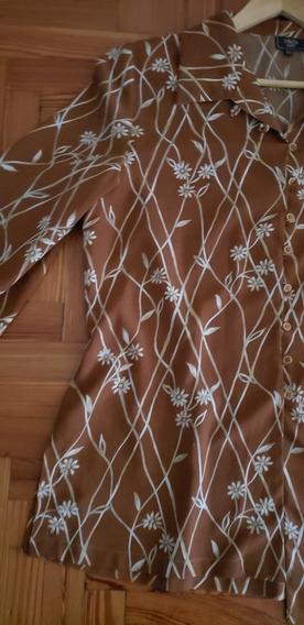 Camisa Marrón Con Flores Talle Amplio Impecable