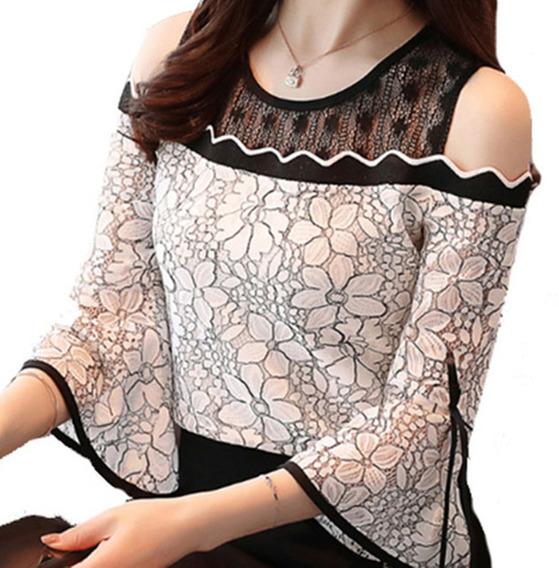 Camisa Feminina Blusa Social Em Renda Foto Real De Luxo