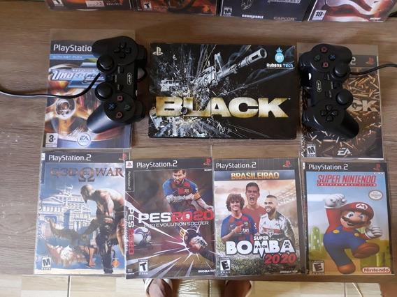 Playstation 2 Leitor Novo Original Ps2+ 02controles+5 Jogos
